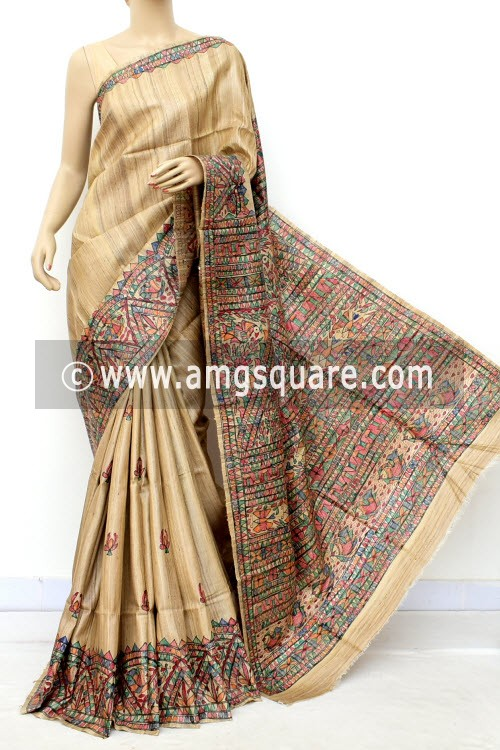 Madhubani Hand Printed Handloom Pure Matka Silk Saree (With Blouse) 16281