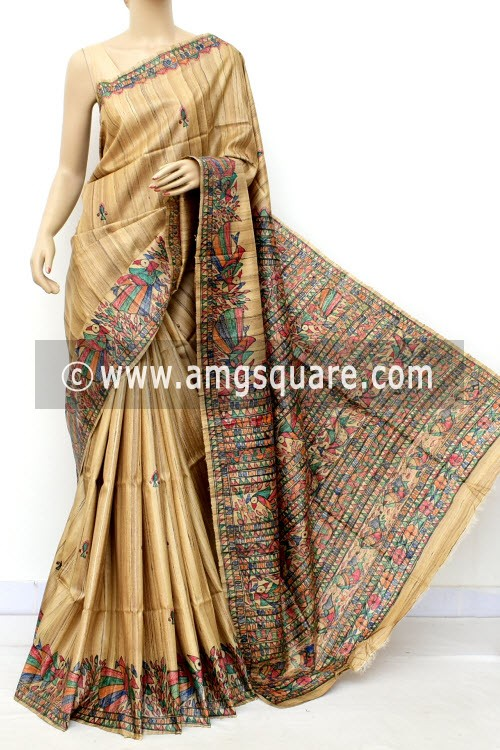 Madhubani Hand Printed Handloom Pure Matka Silk Saree (With Blouse) 16282
