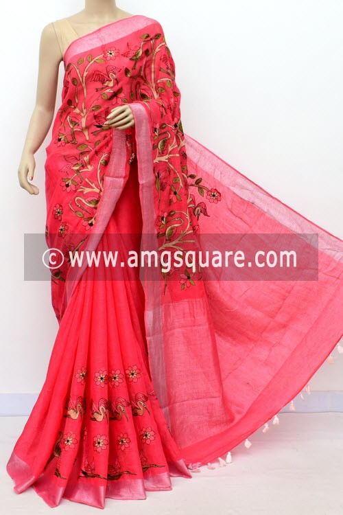 Peach Exclusive Wrinkle Free Linen Fabric Embroidered Saree (With Blouse) 16294