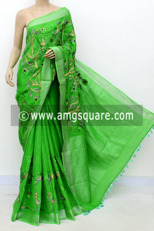 Green Exclusive Wrinkle Free Linen Fabric Embroidered Saree (With Blouse) 16295