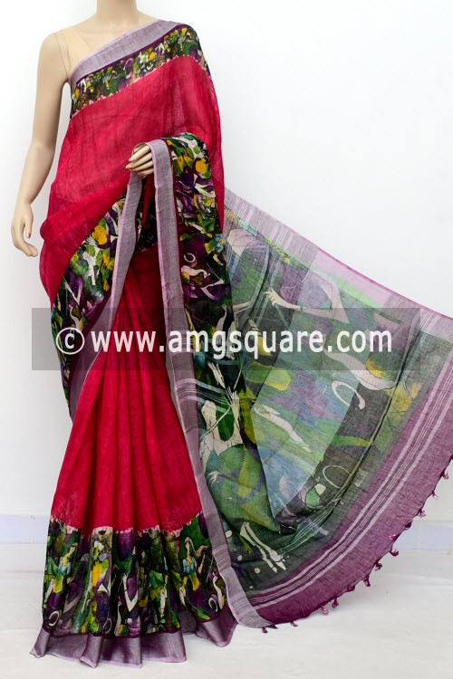 Red Exclusive Wrinkle Free Linen Fabric Digital Printed Saree (With Blouse) 16299