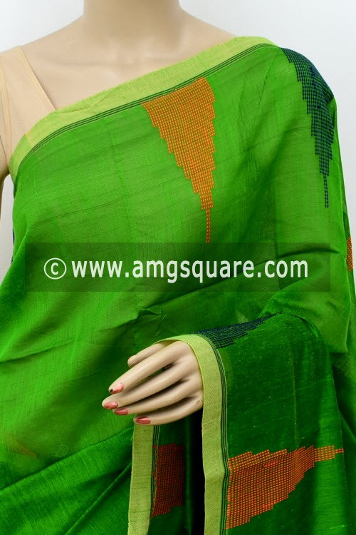 Parrot Green Handloom Masturised Cotton Saree (With Contrast Blouse) 16304