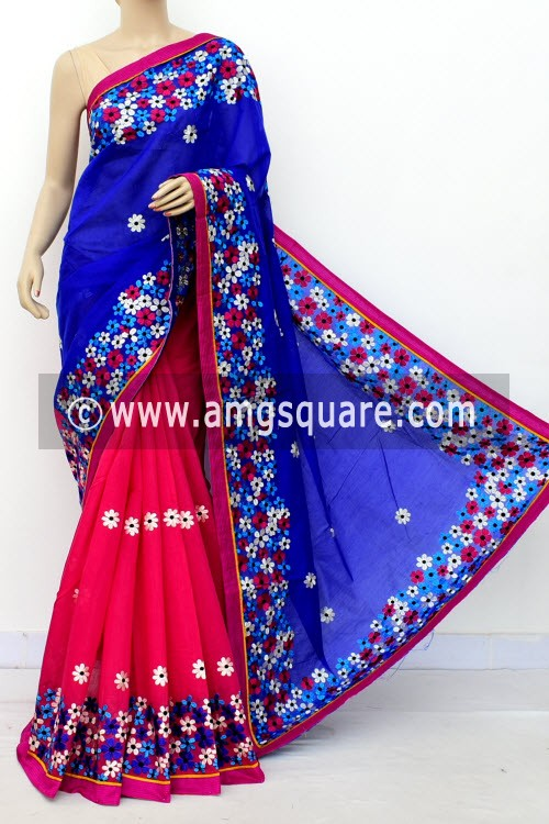 Pink Blue Embroidered Handloom Chanderi Cotton Saree (With Blouse) Half-Half 16323