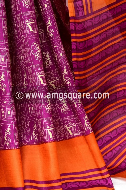 Magenta Orange Handloom Double Knitted Printed Pure Silk Saree (With Blouse) 16343