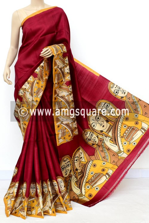 Maroon Handloom Double Knitted Kalamkari Print Pure Silk Saree (With Blouse) 16351