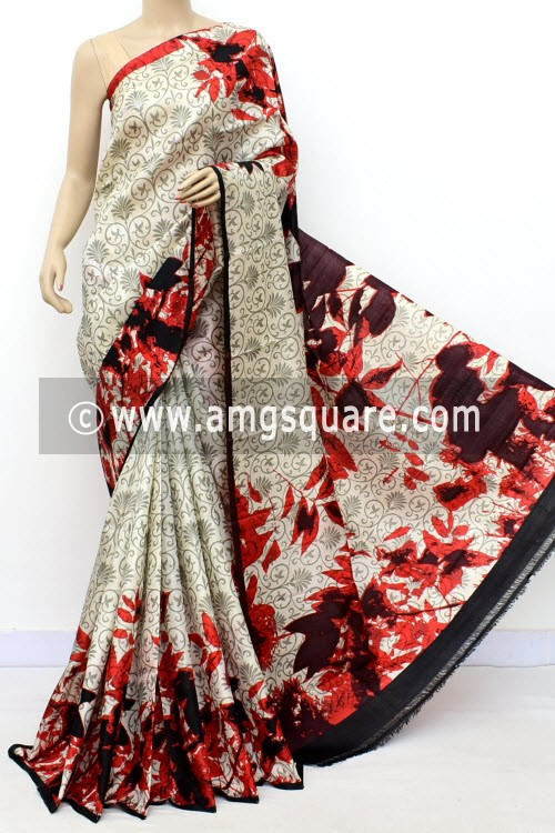 White Handloom Double Knitted Printed Pure Silk Saree (With Contrast Blouse) 16356