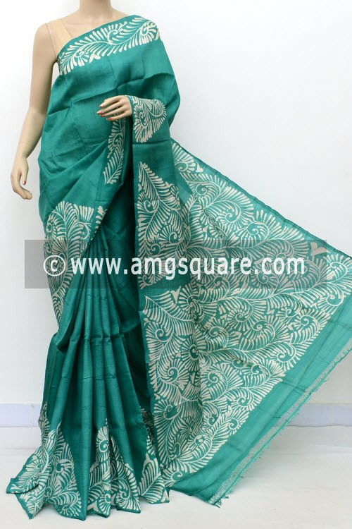 Sea Green Handloom Double Knitted Batik Print Pure Silk Saree (With Blouse) 16361