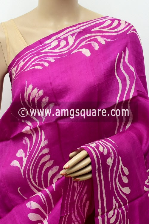 Purple Handloom Double Knitted Batik Print Pure Silk Saree (With Blouse) 16362