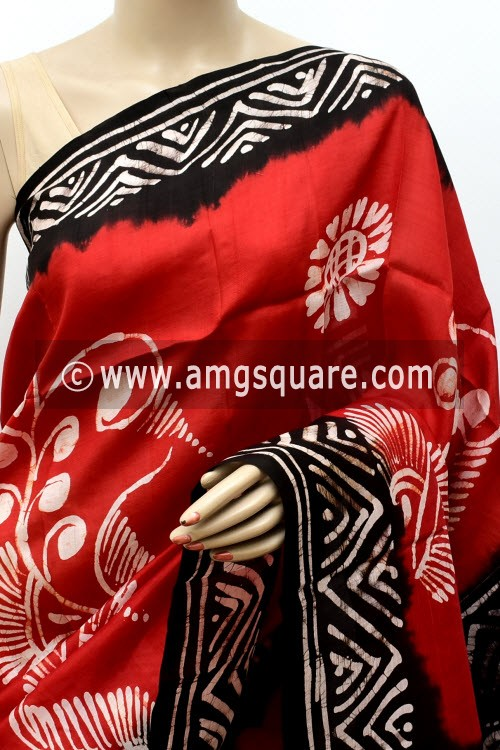 Rust Black Handloom Double Knitted Batik Print Pure Silk Saree (With Blouse) 16363