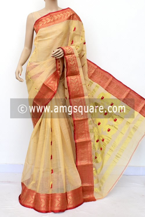 Fawn Handwoven Bengal Tant Cotton Saree (Without Blouse) Zari Border 16991