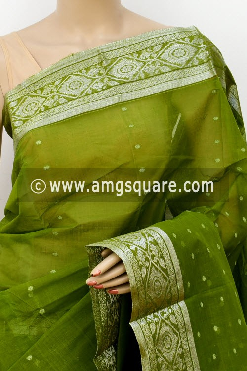 Menhdi Green Handwoven Bengal Tant Cotton Saree (Without Blouse) Zari Border 16993