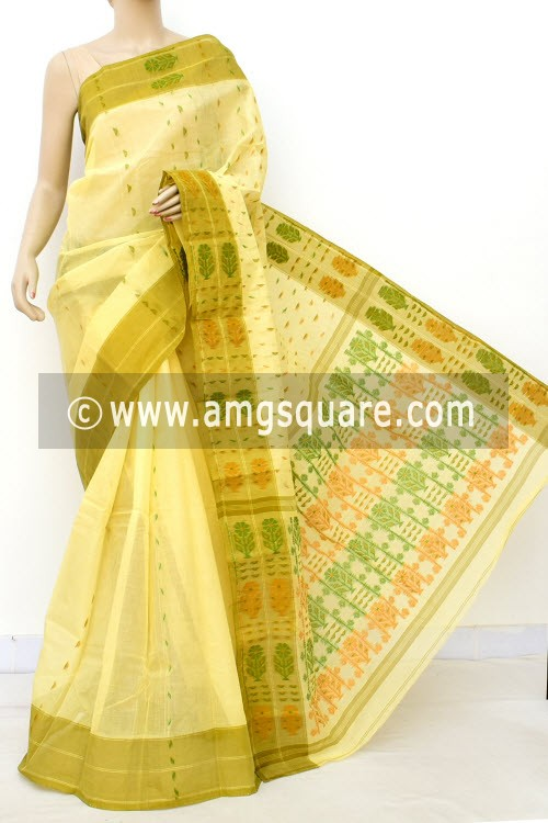 Yellow Handwoven Bengal Tant Cotton Saree (Without Blouse) 16997