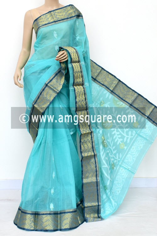 Sea Green Handwoven Bengal Tant Cotton Saree (Without Blouse) Zari Border 17005