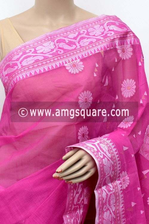 Pink Handwoven Bengal Tant Cotton Saree (Without Blouse) Silver Zari Border 17007