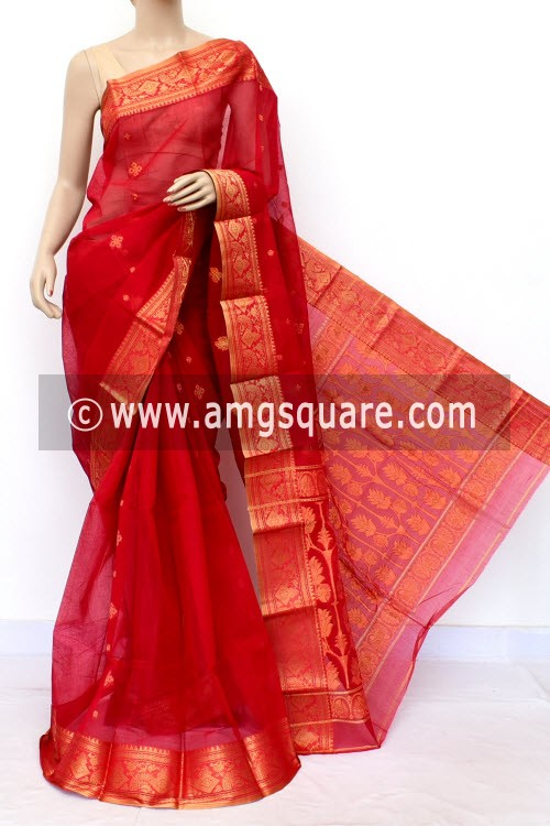 Red Handwoven Bengal Tant Cotton Saree (Without Blouse) Golden Zari Border 17011