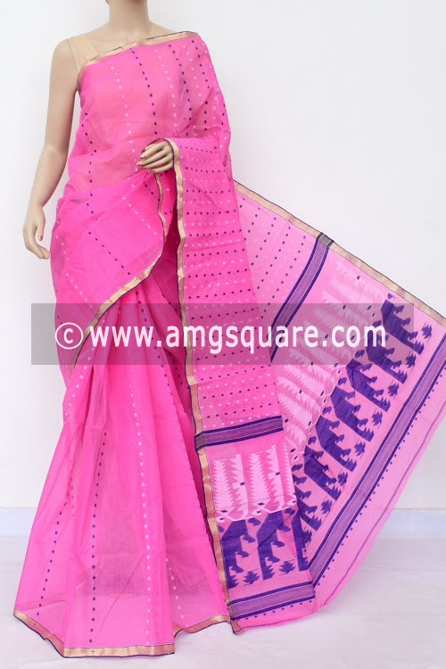 Pink Handwoven Thousand Booti Bengal Tant Cotton Saree (Without Blouse) 17028