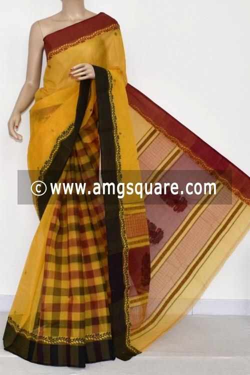 Yellow Designer Handwoven Bengal Tant Cotton Saree (Without Blouse) 17037