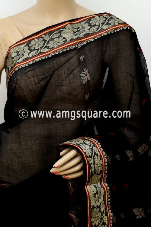 Black Handwoven Bengal Tant Cotton Saree (Without Blouse) 17115
