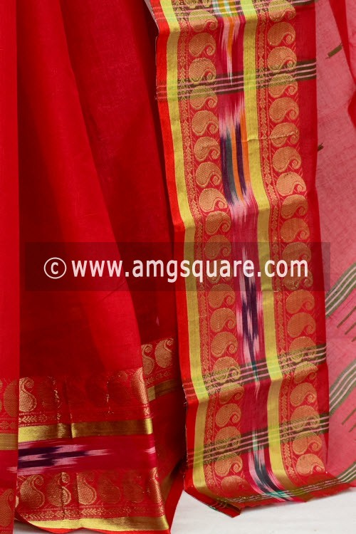 Red Handwoven Bengal Tant Cotton Saree (Without Blouse) Zari Border 17142