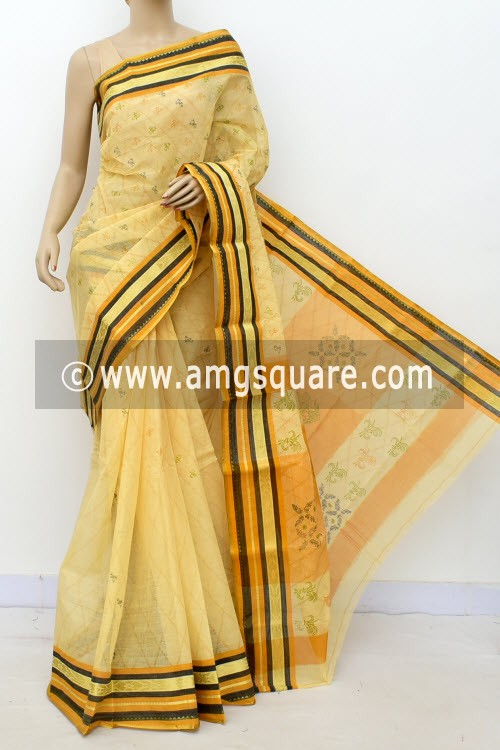 Beige Printed Handwoven Bengal Tant Cotton Saree (Without Blouse) 17150