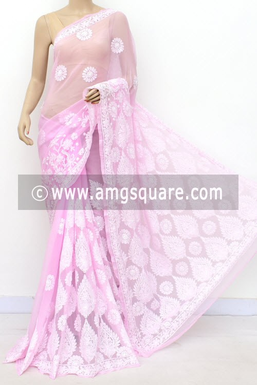 Baby Pink Designer Hand Embroidered Lucknowi Chikankari Saree (With Blouse - Georgette) 17303