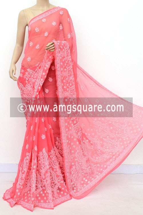 Peach Designer Hand Embroidered Lucknowi Chikankari Saree (With Blouse - Georgette) 17312