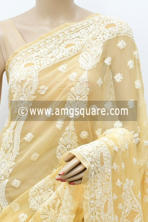 Fawn Designer Hand Embroidered Lucknowi Chikankari Saree (With Blouse - Georgette) 17313