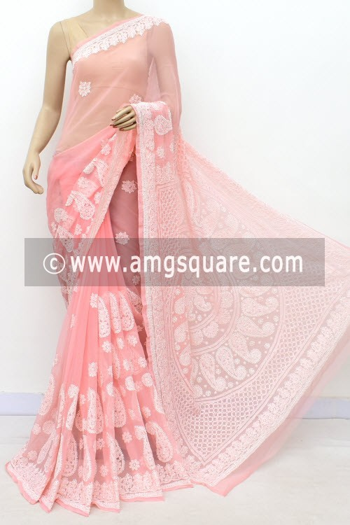 Light Peach Designer Hand Embroidered Lucknowi Chikankari Saree (With Blouse - Georgette) 17320