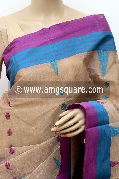 Light Chocolatee Handwoven Bengal Tant Cotton Saree (With Blouse) 17444