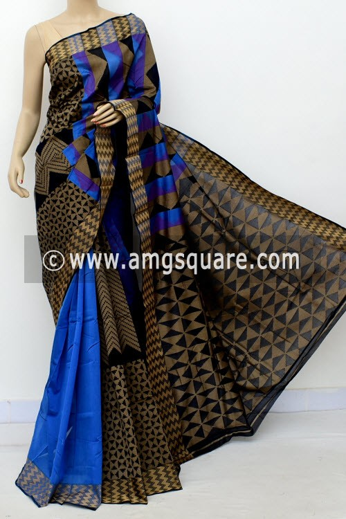 Blue Black Half-Half Cot-Silk Saree (With Blouse) 17642