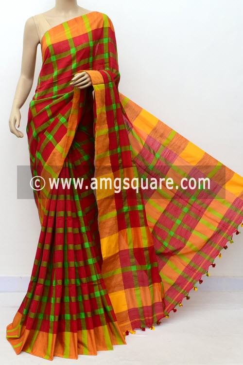Red Green Handloom Soft Cotton Saree (With Blouse) Yellow Border 17653
