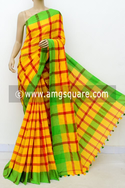 Yellow Red Handloom Soft Cotton Saree (With Blouse) Green Border 17654