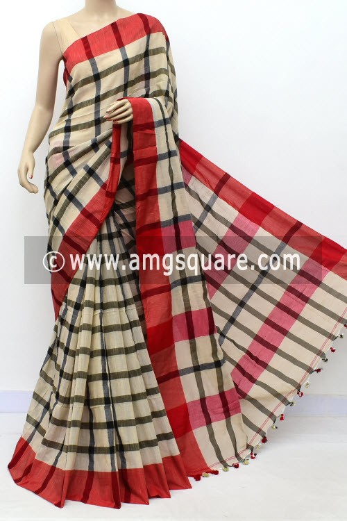 Fawn Black Handloom Soft Cotton Saree (With Blouse) Red Border 17656