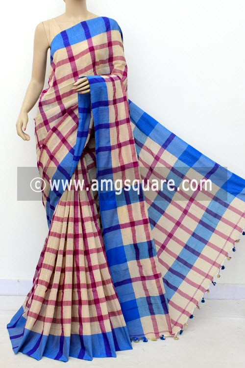 Off White Magenta Handloom Soft Cotton Saree (With Blouse) Blue Border 17658