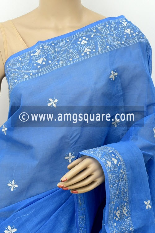 Sky Blue Hand Embroidered Kantha Work Bengal Tant Cotton Saree (Without Blouse) 17753