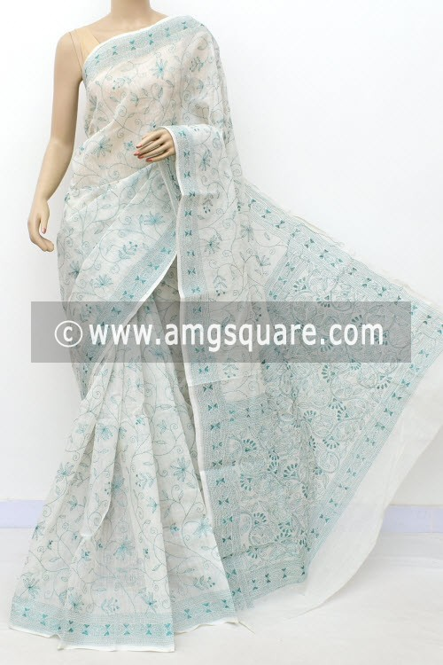 White Sea Green Allover Hand Embroidered Kantha Work Bengal Tant Cotton Saree (Without Blouse) 17761