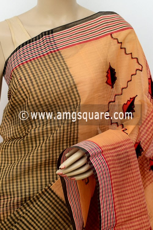 Fawn Designer Handwoven Bengal Tant Cotton Saree (Without Blouse) Applique Work 17815