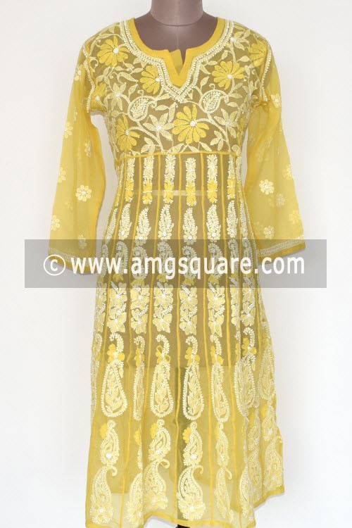 Yellow Hand Embroidered Lucknowi Chikankari Anarkali (Georgette) Bust-40 inch 17905