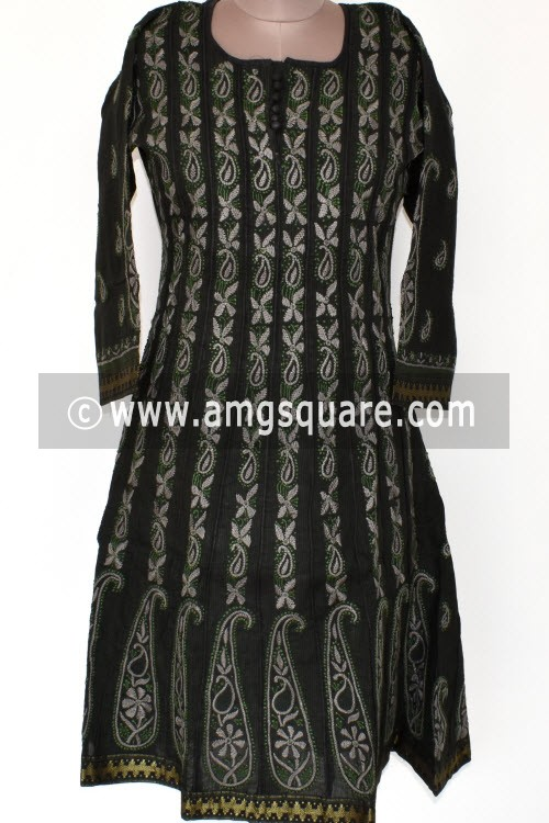 Black Hand Embroidered Lucknowi Chikankari Anarkali (Mangalgiri Cotton) Bust-40 inch 17927