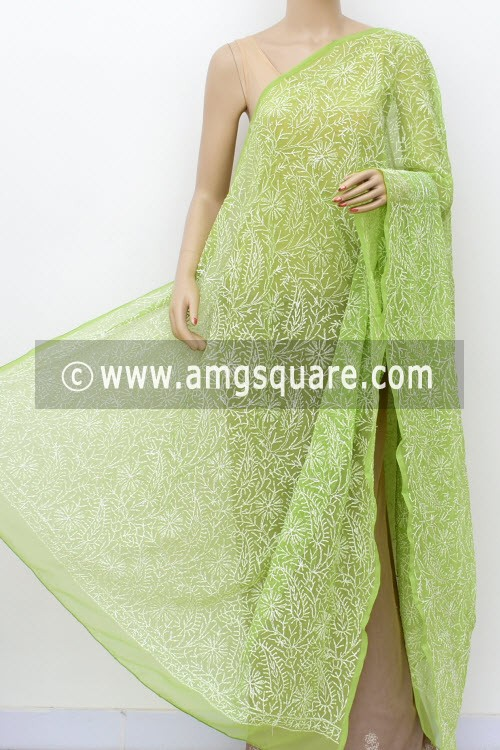 Menhdi Green Hand Embroidered Allover Tepchi Work Lucknowi Chikankari Dupatta (Georgette) 17959