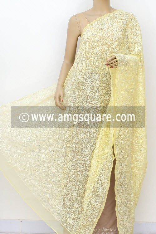 Light Yellow Hand Embroidered Allover Tepchi Work Lucknowi Chikankari Dupatta (Georgette) 17974
