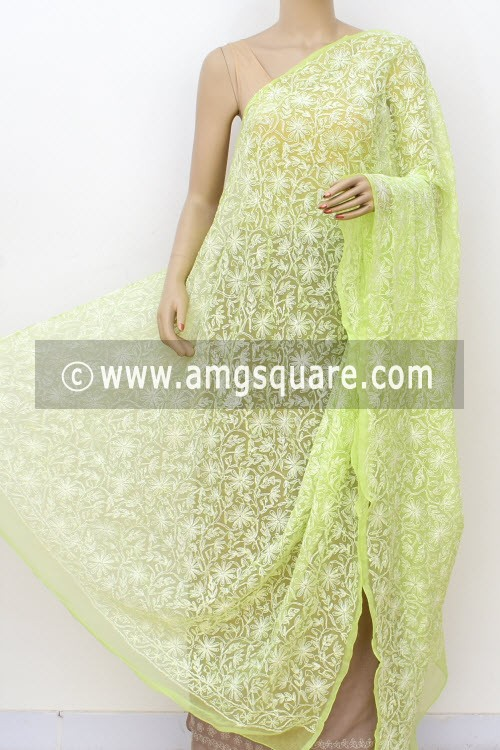 Pista Green Hand Embroidered Allover Tepchi Work Lucknowi Chikankari Dupatta (Georgette) 17976