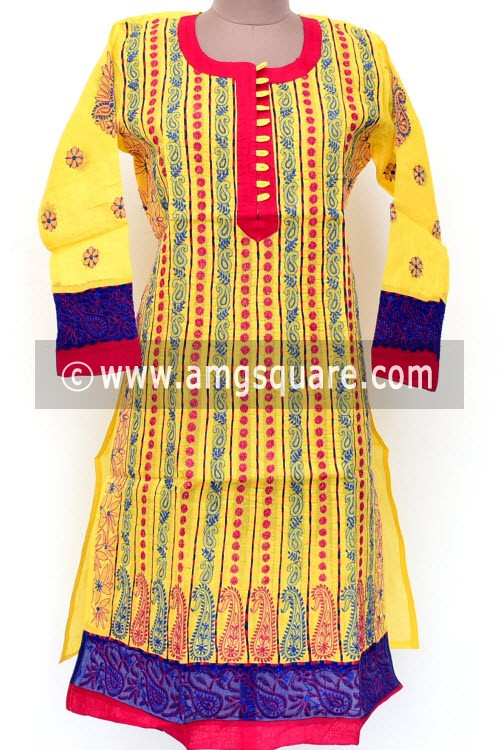 Yellow Hand Embroidered Lucknowi Chikankari Long Kurti (Cotton) Bust-44 inch 18018