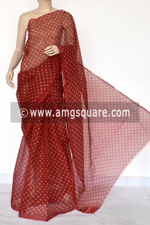 Red Chunri Print JP Kota Doria Cotton Saree (without Blouse) 13534