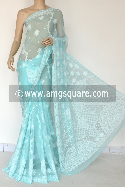 Pherozi Blue Hand Embroidered Lucknowi Chikankari Saree (With Blouse - Georgette) Rich Pallu 14655