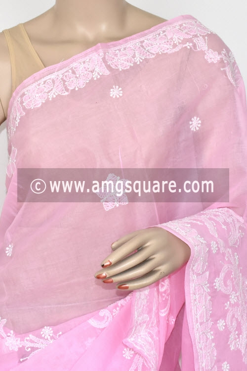 Pink Hand Embroidered Lucknowi Chikankari Saree (With Blouse - Cotton) 14717