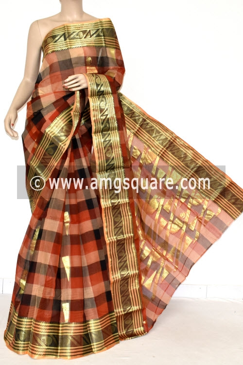 Red Black Handwoven Bengal Tant Cotton Saree (Without Blouse) Zari Border & Booti 17401