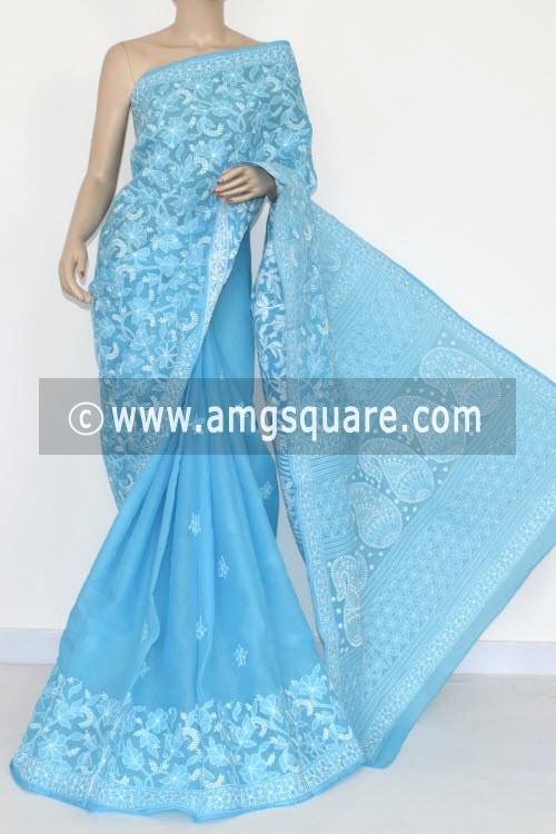 Pherozi Blue Hand Embroidered Lucknowi Chikankari Saree (With Blouse - Cotton) Half Jaal 14679