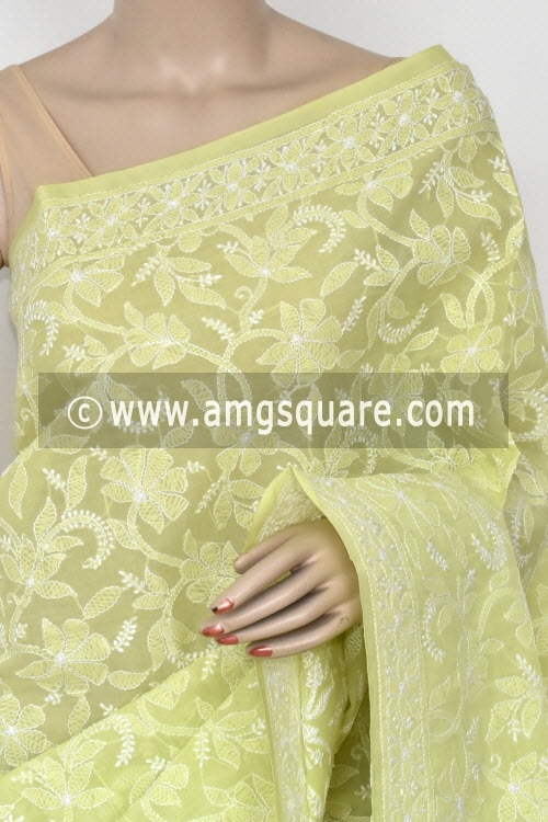 Light Pista Green Hand Embroidered Lucknowi Chikankari Saree (With Blouse - Cotton) Half Jaal 14747