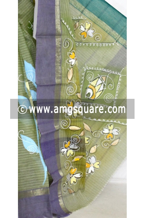 Menhdi Green with Green Purple Ganga Yamuna Border Hand-printed Bengali Tant Cotton Saree (Without Blouse) 13917